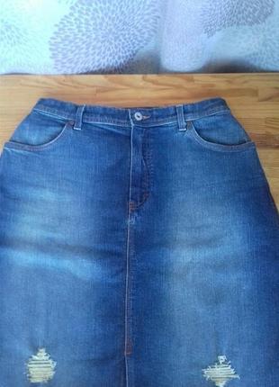 Джинсовая юбка. высокая талия.