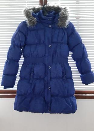 Актуальный синий пуховик/демисезонная куртка с капюшоном от reserved