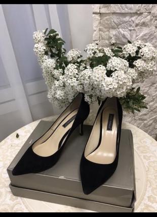 Туфли лодочки натуральная кожа {замша} чёрные на шпильке босоножки
