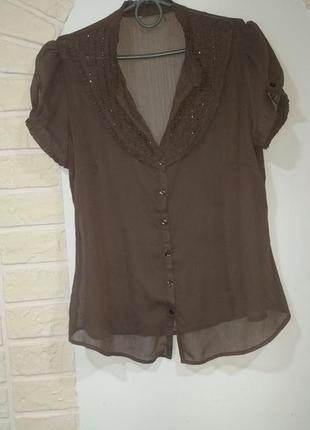 Шифоновая блуза цвета какао с бисером m& co