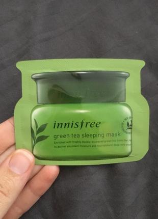 Innisfree green tea sleeping mask увлажняющая ночная маска пробник