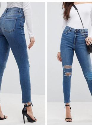 Рваные джинсы,высокая талия  george1 фото