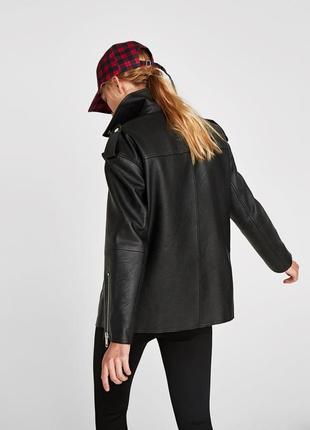 Удлинённая куртка косуха оверсайз дублёнка zara2 фото