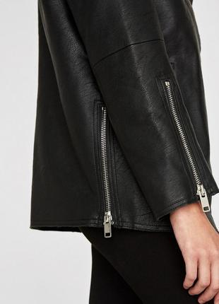 Удлинённая куртка косуха оверсайз дублёнка zara3 фото