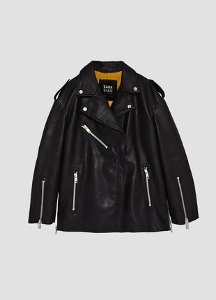 Удлинённая куртка косуха оверсайз дублёнка zara7 фото
