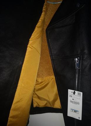 Удлинённая куртка косуха оверсайз дублёнка zara4 фото