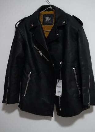 Удлинённая куртка косуха оверсайз дублёнка zara5 фото