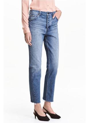 164 мом джинсы с необработанным краем высокой посадки h&m