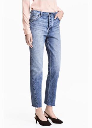 165 мом джинсы с необработанным краем высокой посадки h&m