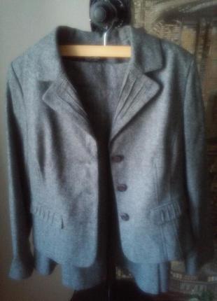 Шерстяной костюм, размер 36-38,цвет серый меланж 🍁🍂🌸