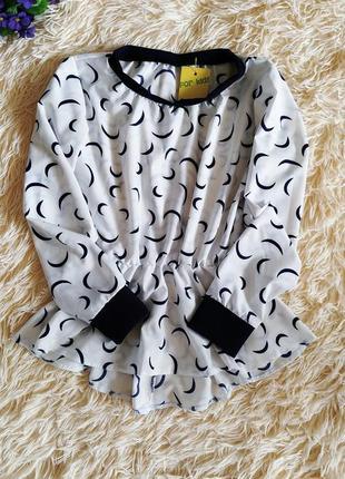 ♠️ школьная нарядная блузка с баской, длинный рукав ♠️1 фото