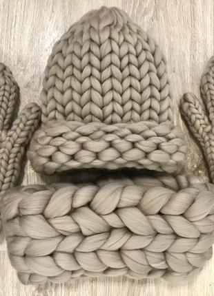 Шапка снуд варежки из шерсти мериноса