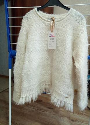 🌸шикарный, фирменный пушистый свитер с кисточками house🌸