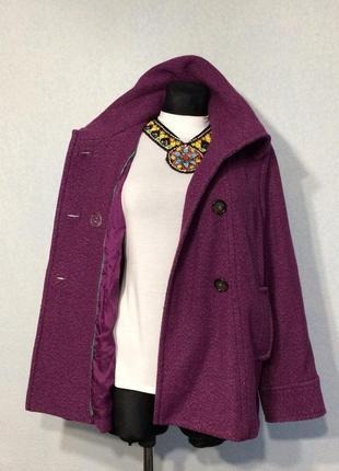 Фиолетовое демисезонное пальто шерсть  12р -14р наш 48 цена 380грн