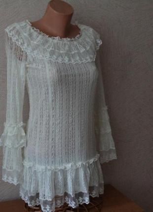 Блуза кофта, ажурно-кружевная в красивейшем дизайне, в идеале