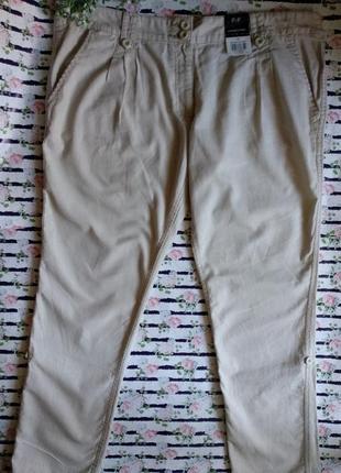Льняные брюки бежевого цвета размер 18