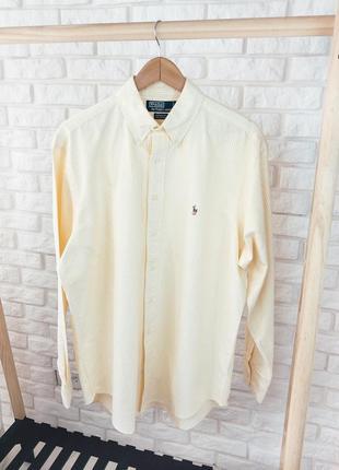 Ralph lauren рубашка over size желтая в полоску на пуговицах классическая