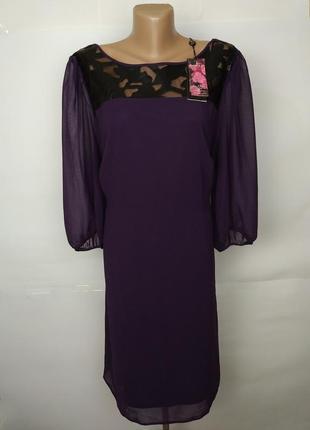 Платье шифоновое фиолетовое кружевная кокетка большой размер uk 20/48/3xl