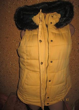 Тёплая с капюшоном демисезонная жилетка