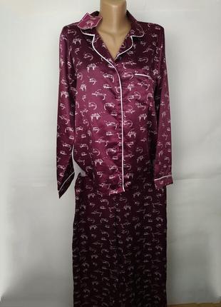 Пижама новая бордовая в красивый принт uk 12-14/40-42/m-l