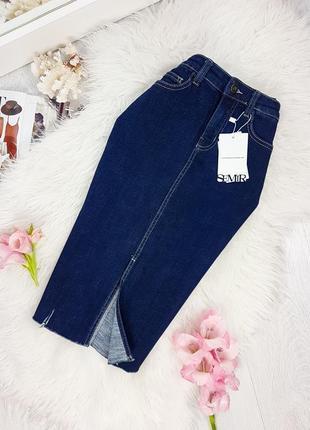 Базова джинсова спідниця-міді з необробленим краєм