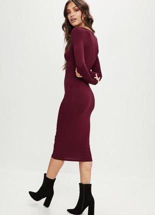 Платье цвета бордо длины миди asos