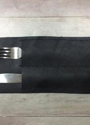 Черный кожаный стильный куверт для столовых приборов