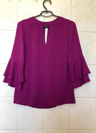 Фиолетовая блуза с волнами рюшами zara