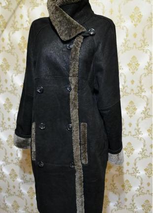 Дубленка на овчине, цвет черный, размер 42