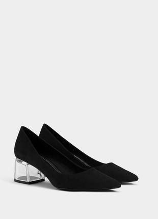 Туфли эко замша с острым носом и прозрачным широким каблуком новые