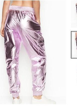 Victoria's secret sport спортивные штаны фольга shine jogger розовые.