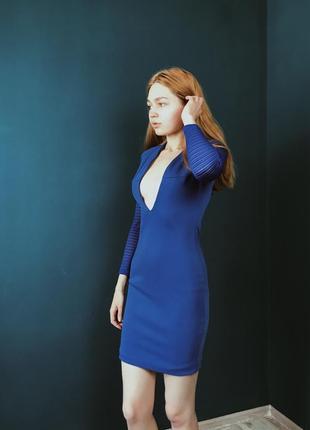 Синее бандажное коктельное новогоднее платье