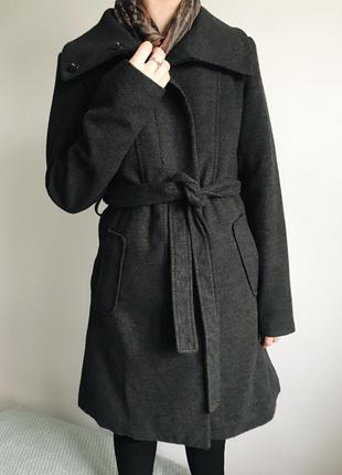 Женское серое пальто h&m