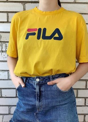 Желтая футболка биг лого big logo с логотипом фила fila