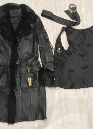 Натуральное кожаное пальто, мех нутрии, кролик