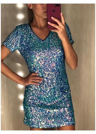 Голубое платье в пайетки от miss selfidge
