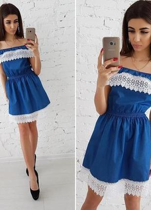 Очень красивое джинсовое платье,с воланом и кружевом