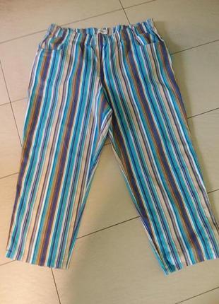 Натуральные летние полосатые штаны большого 26-28 размера