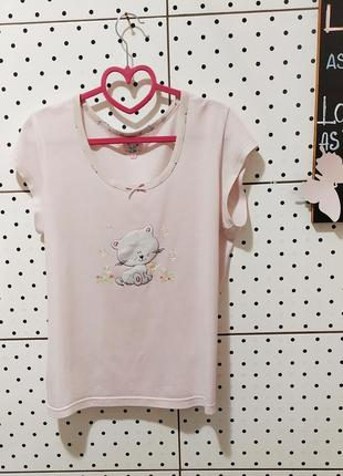 Футболка для сна нежная розовая майка пижама одяг для сну рр m/l