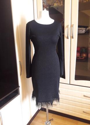 Шикарное платье с шимером и страусинными перьями