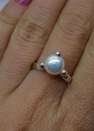 Серебряное #кольцо #каблучка #обручка #жемчуг #перлина #925 17,5р-р