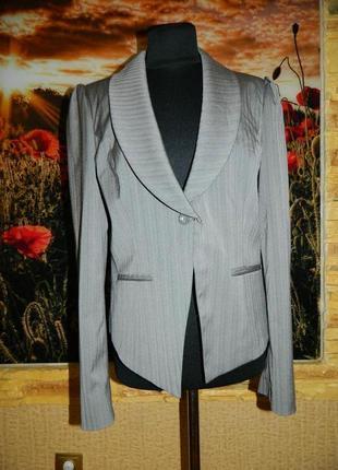Пиджак женский серый в мелкую полоску размер 48-50 f&f.