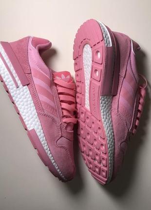 Новинка! женские розовые кожаные кроссовки adidas zx 500 rm pink