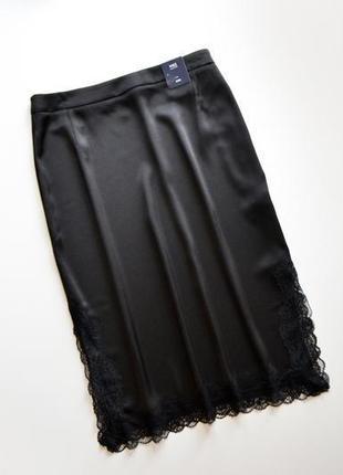 Миди юбка в бельевом стиле черного оттенка m&s 14uk