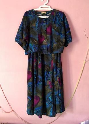 Костюм двойка интересный принт блуза и юбка миди цветочный принт