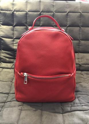 Красный кожаный рюкзак   червоний шкіряний рюкзак