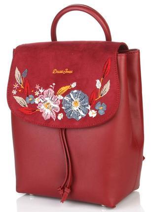 Рюкзак с вышивкой david jones 6141-4 темно-красный