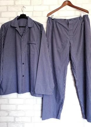 Мужская пижама в клетку. домашний костюм xl-xxl
