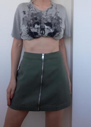 Юбка а силуэта с высокой талией из тонкого джинса с замочком по всей длинне