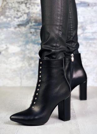Осень натуральная кожа роскошные ботильоны с острым носком на высоком каблуке